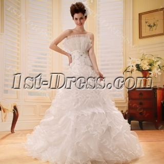 Ball-Gown Strapless Chapel Train Organza Satin Wedding Dress With Lace Beadwork F-114