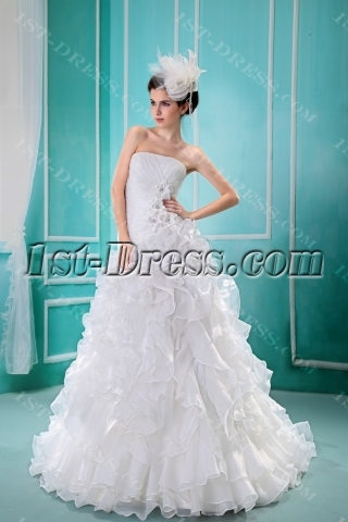 Ball-Gown Strapless Chapel Train Satin Organza Wedding Dress F-121