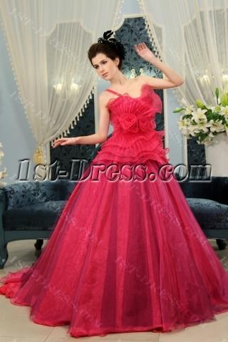 Ball-Gown Strapless Floor-Length Taffeta Organza Quinceanera Dress With Ruffle H-119