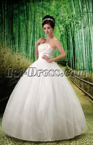 Ball-Gown Strapless Satin Tulle Wedding Dress With Beadwork