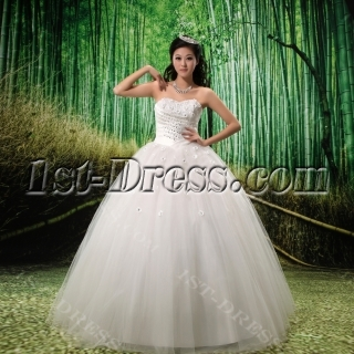Ball-Gown Strapless Satin  Tulle Wedding Dress With Embroidery Beadwork Flower(s)