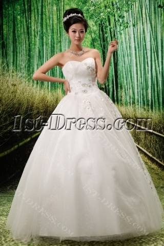 Ball-Gown Strapless Satin Tulle Wedding Dress With Ruffle Lace Beadwork