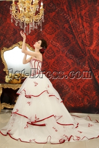 Ball-Gown Sweetheart Chapel Train Organza Satin Wedding Dress With Embroidery Ruffle Beadwork Sequins H-145