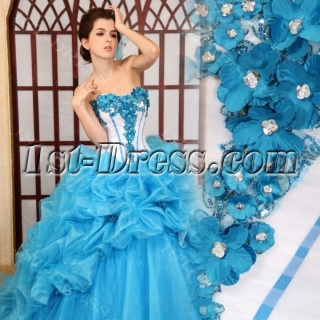 Ball-Gown Sweetheart Floor-Length Organza Quinceanera Dress With Embroidered Ruffle H-148