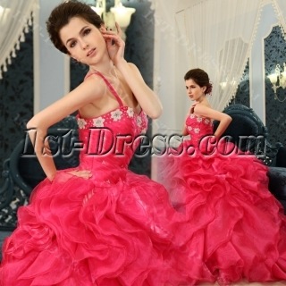 Ball-Gown Sweetheart Floor-Length Organza Satin Quinceanera Dress With Ruffle Beading H-124