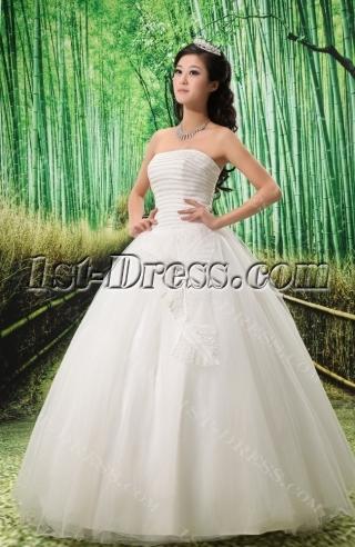 Ball-Gown Sweetheart Floor-Length Satin Tulle Wedding Dress With Ruffle Sashes Beadwork