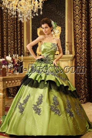 Ball-Gown Sweetheart Floor-Length Taffeta Quinceanera Dress With Ruffle Beading H-115