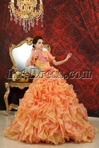 Ball-Gown Sweetheart One-Shoulder Floor-Length Organza Satin Quinceanera Dress With Beading H-125