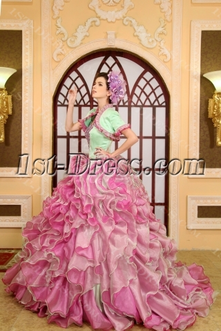 Ball-Gown Sweetheart Organza Satin Quinceanera Dress With Ruffle Beading
