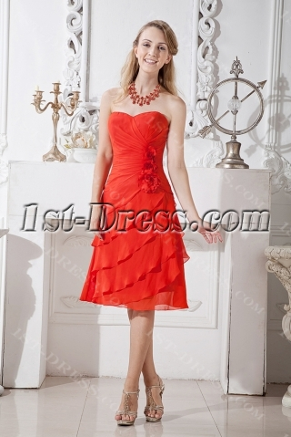 Beautiful Red Short Graduation Dress with Flowers
