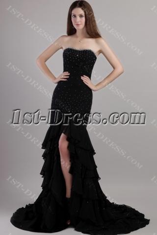 Black Chiffon 2013 Sheath tasteful Evening Dress with Train 2146