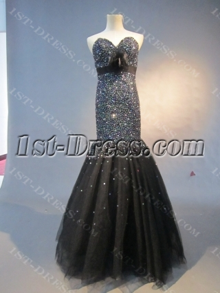 Black Floor-Length Satin Tulle Quinceanera Dress 1517
