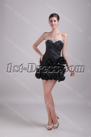 Black Floral Short Sweetheart Sweet 16 Dress 1356