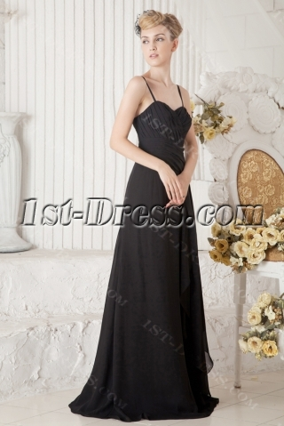 Black Long Formal Evening Gown with Spaghetti Straps