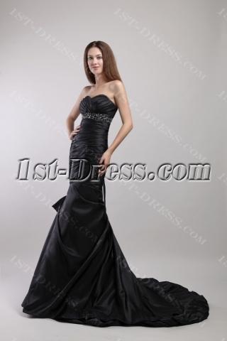Black Long Sheath Tasteful Graduation Dress for College 1882