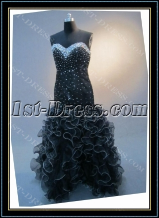 Black Mermaid Trumpet Floor-Length Satin Organza Prom Dress 4547