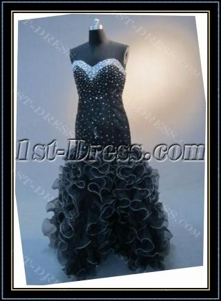 Black Mermaid Trumpet Floor-Length Satin Organza Prom Dress 4547