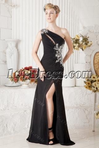 Black One Shoulder Sexy Evening Dress with Slit