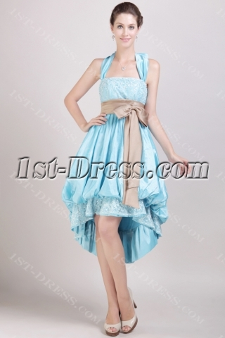 Blue High-low Special Graduation Dress with Halter Neckline