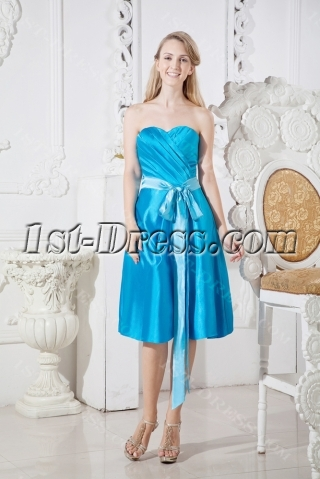 Blue Short Modest Bridesmaid Prom Dress with Sash