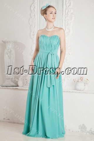 Blue Simple Plus Size Prom Dress with Slit