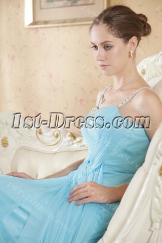Blue Spaghetti Straps Plus Size Evening Dress Cheap
