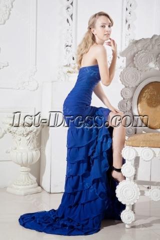 Blue Sweetheart Mermaid Celebrity Dress with Train