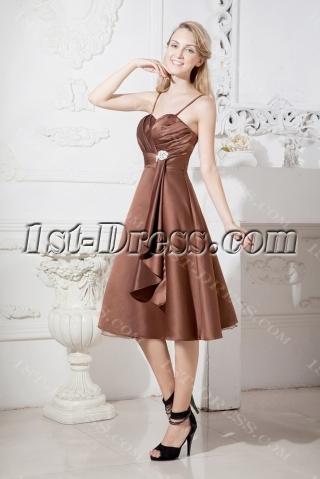 Brown Beach Short Bridesmaid Dress with Spaghetti Straps