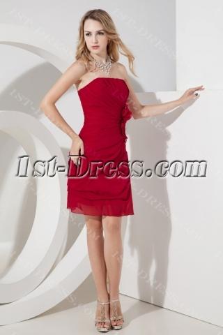 Burgundy Chiffon Bridesmaid Dress Cheap