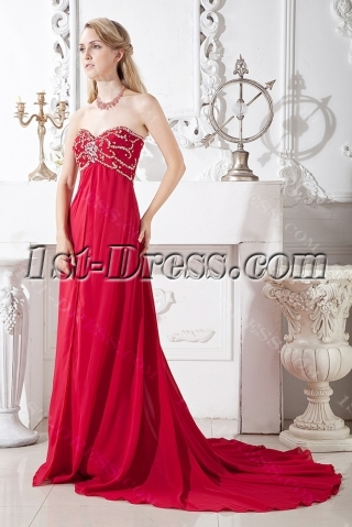 Burgundy Empire Prom Dress under 200 for Plus Size