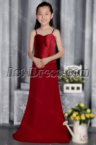 Burgundy Little Flowers Bridesmaid Dresses 2828