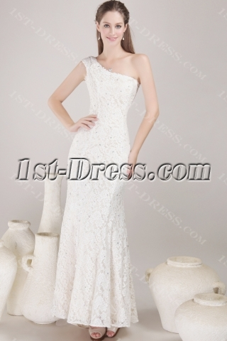 Cap Sleeve One Shoulder Lace Bridal Gown with Slit