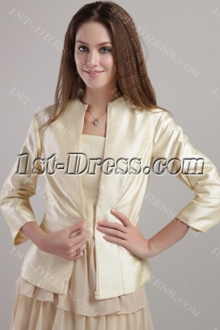 Champagne Long Mother of Brides Gown with Jacket for Winter 2205