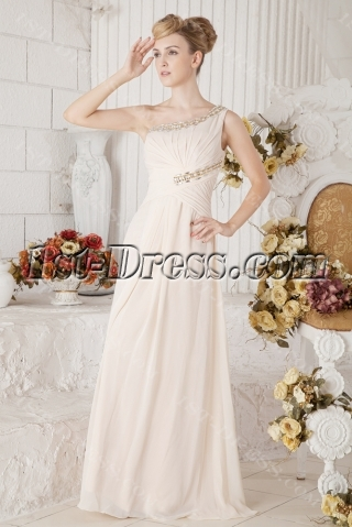 Champagne Long One Shoulder Chiffon Mother of Brides Gown