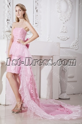 Charming Pink Sweet 16 Dress with Detachable Train