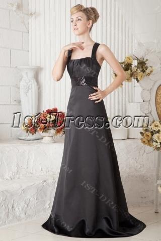 Cheap Black Straps Long Vintage Evening Dress