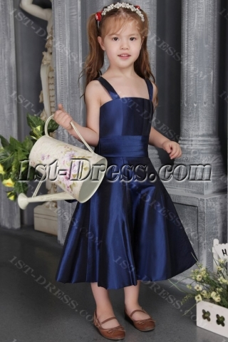 Cheap Navy Blue Taffeta Flower Girl Gown 2564