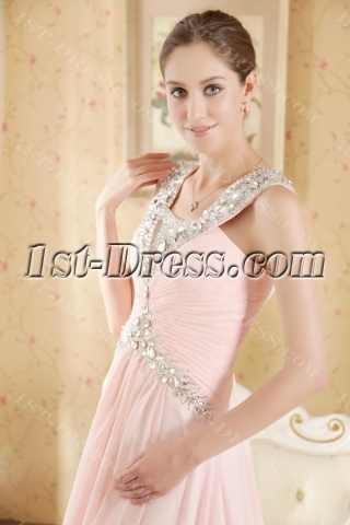 Cheap Pink Luxurious Plus Size Evening Gown with Train