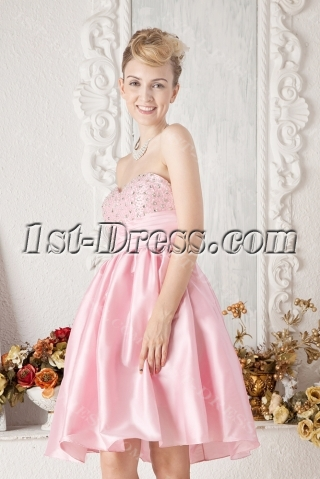 Cheap Pink Short Beaded Sweet 16 Dress