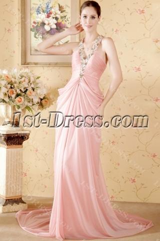 Cheap Romantic Column Pink Mature Beach Wedding Dress