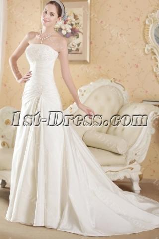 Cheap Strapless Taffeta Princess Vintage Bridal Gown