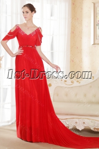 Chic Chiffon Red Bridal Gown with Short Sleeves