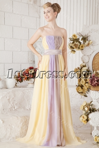 Chiffon Colorful Long Evening Dress for Formal Party