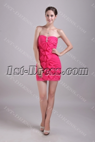 Column Short Semi Formal Dress for Graduation Ceremony