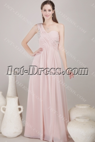 Dusty Rose Long Chiffon Empire Prom Dress for Plus Size