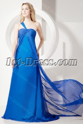 Elegant Royal One Shoulder Chiffon Maternity Prom Gown