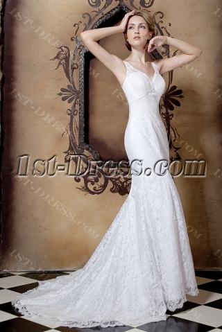 Elegant Sheath Beach Lace Wedding Gowns