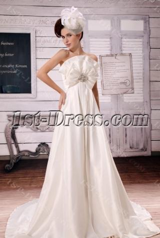 Ivory Strapless Brilliant Charmeuse Pregancy Wedding Dress