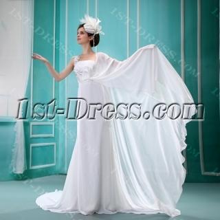Empire One-Shoulder Court Train Chiffon Charmeuse Beach Wedding Dress F-131
