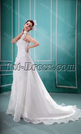 Empire One-Shoulder Court Train Satin Organza Wedding Dress With Ruffle Flower(s)  F-122